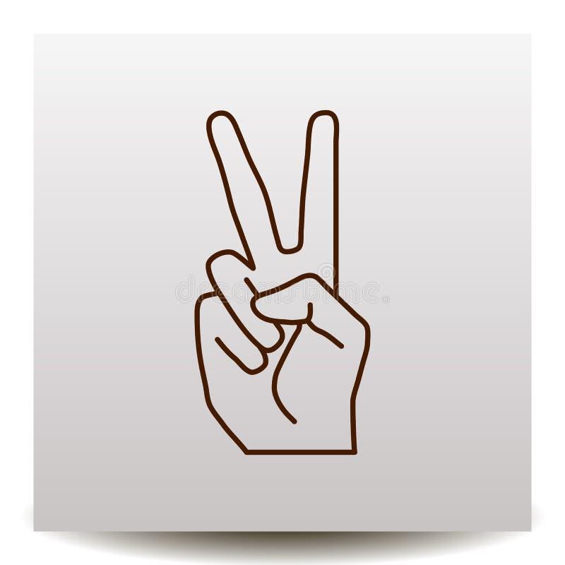 Vrede of overwinnings de lijn vectorpictogram van het handgebaar royalty-vrije illustratie