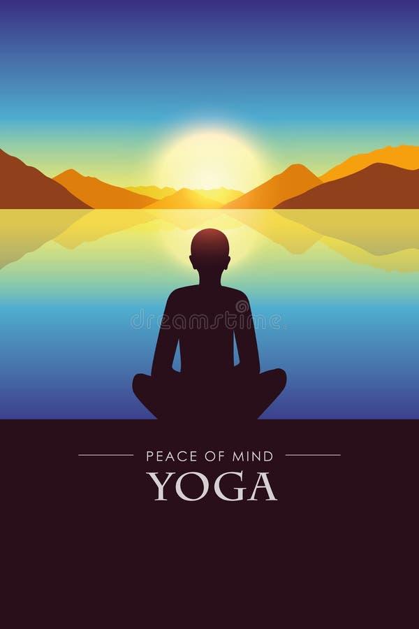 Vrede van het silhouet van de meningsyoga door het meer met het landschap van de de herfstberg bij zonsondergang vector illustratie