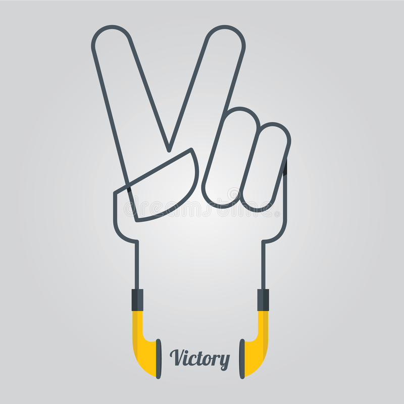 Vredeshand en Muziekontwerp met Oortelefoons in Vlak Ontwerp, Vector stock illustratie