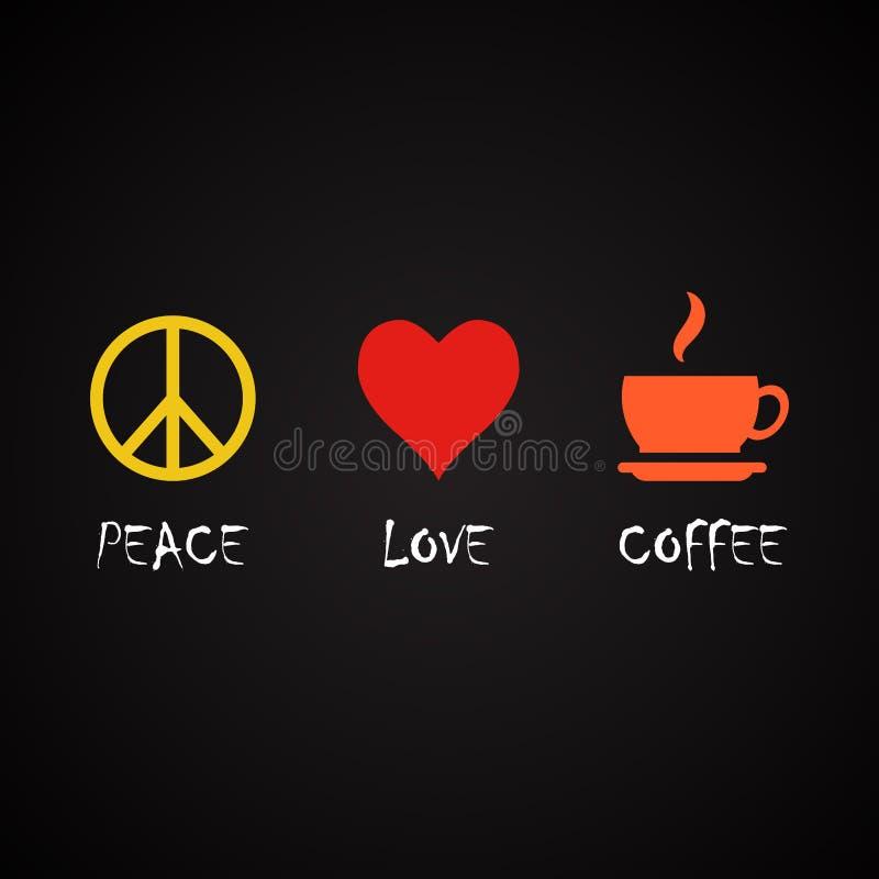 Vredesliefde en koffie - het malplaatje van koffiecitaten stock fotografie