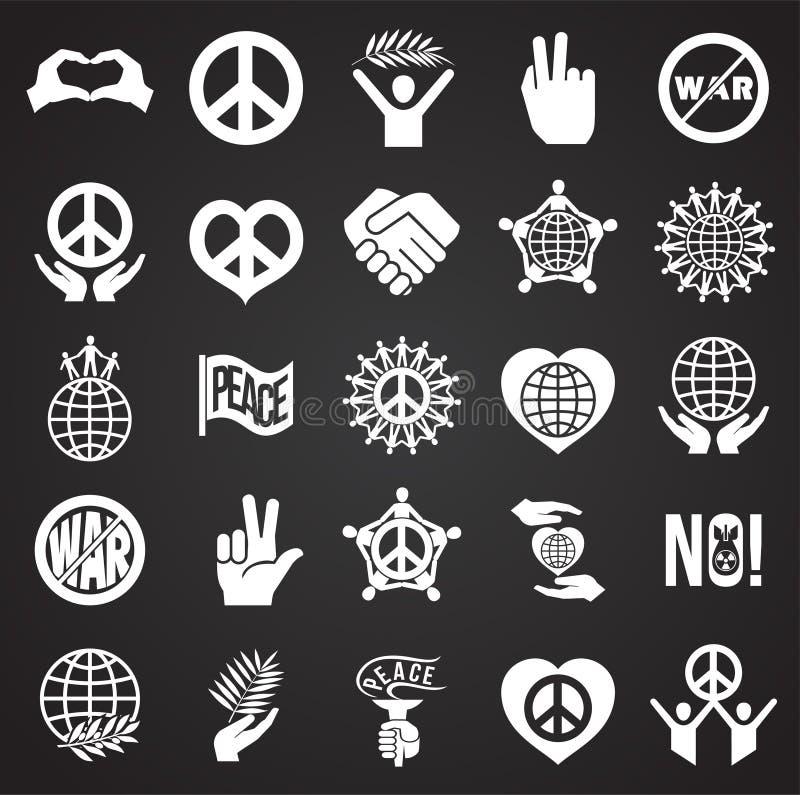 Vredespictogrammen op zwarte achtergrond voor grafisch en Webontwerp dat worden geplaatst Eenvoudig vectorteken Internet-concepte royalty-vrije illustratie