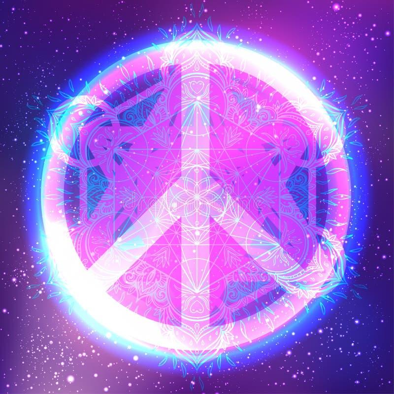 Vredessymbool met mandala Rond patroon Uitstekende stijl decorat royalty-vrije illustratie
