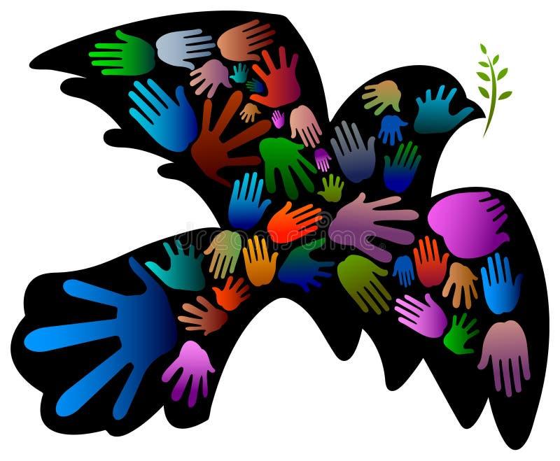 Vredesvogel met handen vector illustratie