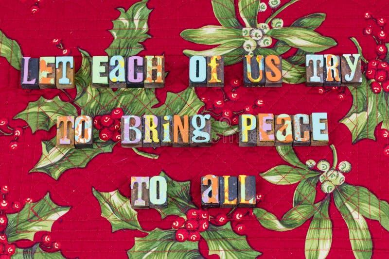 Vredeswelwillendheid al Kerstmistypografie stock afbeeldingen