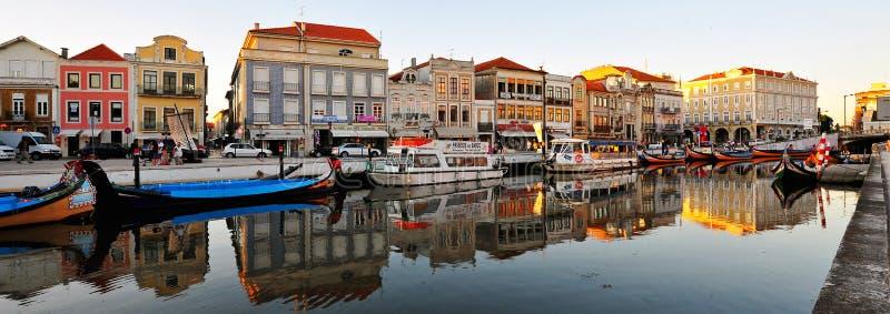Vreedzaam kanaal, Aveiro, Portugal stock afbeelding