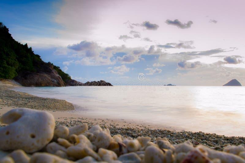 Vreedzaam koraalstrand, lange blootstelling, met bewolkte hemel tijdens zonsondergang en koralen in voorgrond stock afbeeldingen