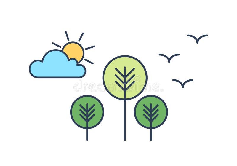 Vreedzaam landschap met bomen, zon, wolk en vogels Landschap met park of bosmilieubescherming, ecologie royalty-vrije illustratie
