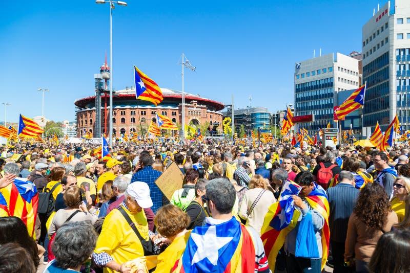Vreedzame demonstratie in Catalonië voor vrijheid royalty-vrije stock fotografie