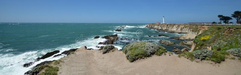 Vreedzame kustenindrukken van het Licht van de Puntarena, Californië de V.S. stock afbeeldingen