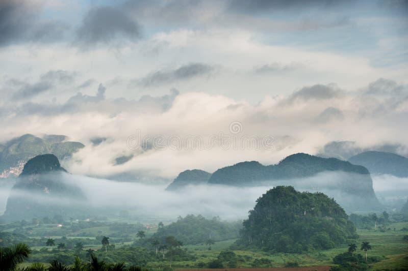 Vreedzame mening van Vinales-vallei bij zonsopgang Luchtmening van de Vinales-Vallei in Cuba Ochtendschemering en mist Mist bij d stock foto