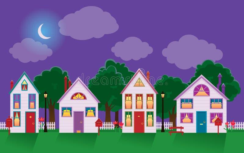 Vreedzame nachtcityscape van een huis in het maanlicht stock illustratie