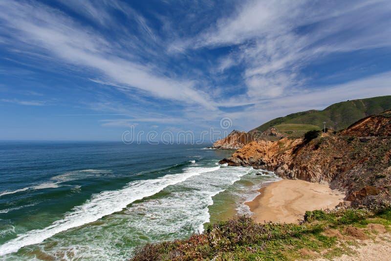 Vreedzame Oceaan - Route 1 van de Staat van Californië (Vreedzame Kustweg), nabijgelegen Monterey Californië, de V.S. stock fotografie