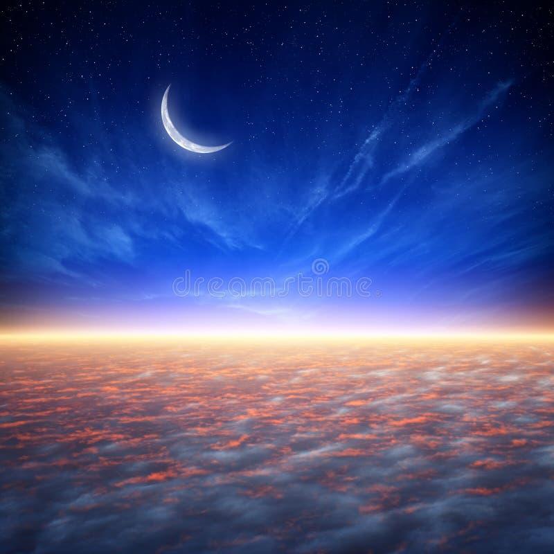 Vreedzame zonsondergang stock illustratie