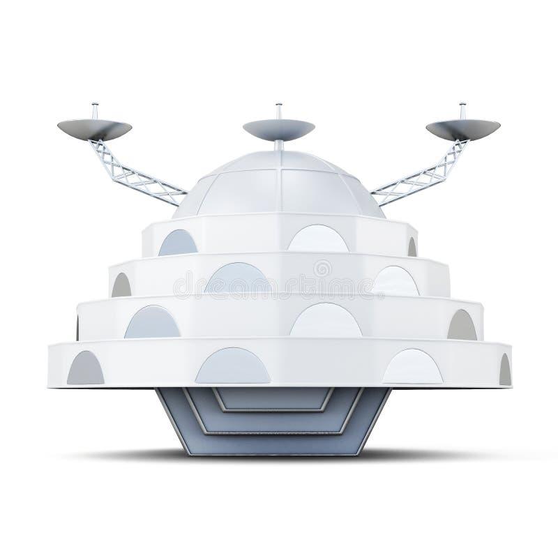 Vreemd die ruimteschip op een witte achtergrond wordt geïsoleerd het 3d teruggeven stock illustratie