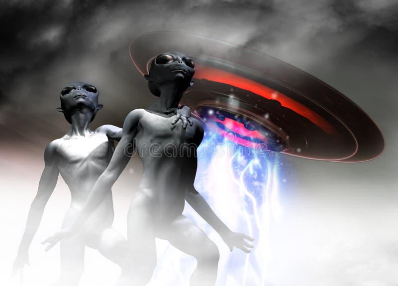 Vreemd Greys en UFO vector illustratie