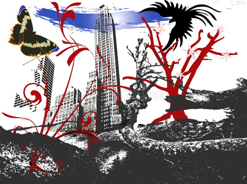 Vreemd landschap royalty-vrije illustratie