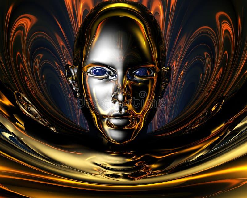 Vreemd metaal 3D meisje stock illustratie