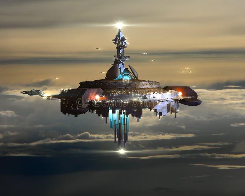 Vreemd Moederschip boven wolken ter wereld royalty-vrije illustratie
