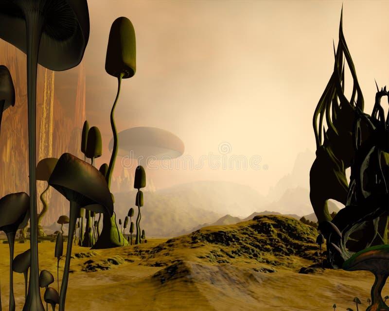 Vreemd nevelig woestijnlandschap royalty-vrije illustratie