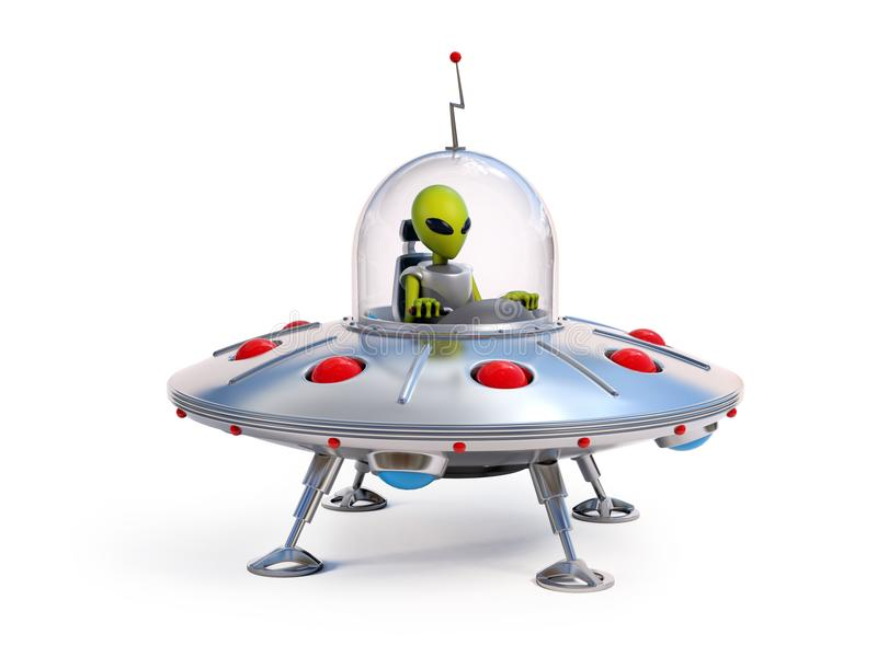 Vreemd ruimteschip, UFOillustratie royalty-vrije illustratie