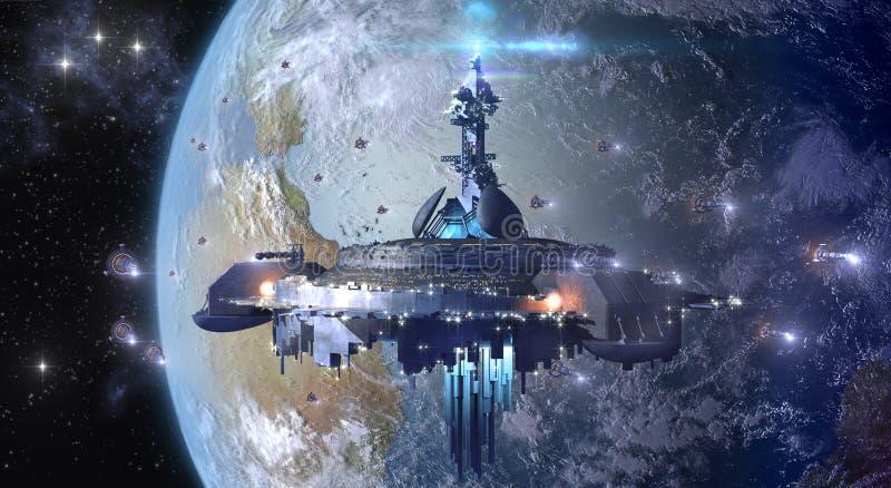 Vreemd UFO dichtbij Aarde stock afbeeldingen