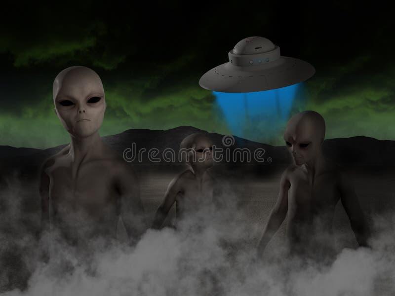 Vreemd UFO, Vreemdelingen, Ruimteschipillustratie stock illustratie