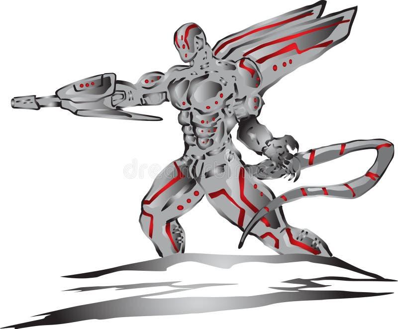 Vreemde cyborg vector illustratie