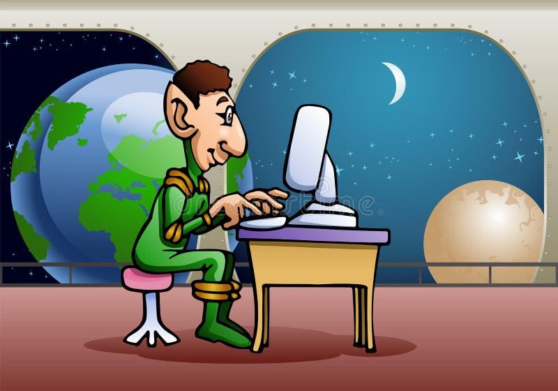 Vreemde gebruikende computer vector illustratie