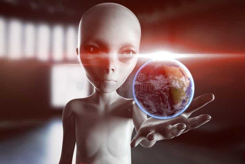 Vreemde hand die uit met Aardeplaneet bereiken UFO futuristisch concept het 3d teruggeven stock illustratie