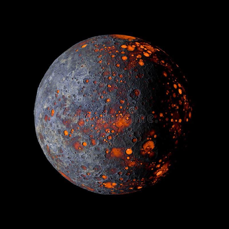 Vreemde hete planeet bij het zwarte 3d teruggeven als achtergrond vector illustratie