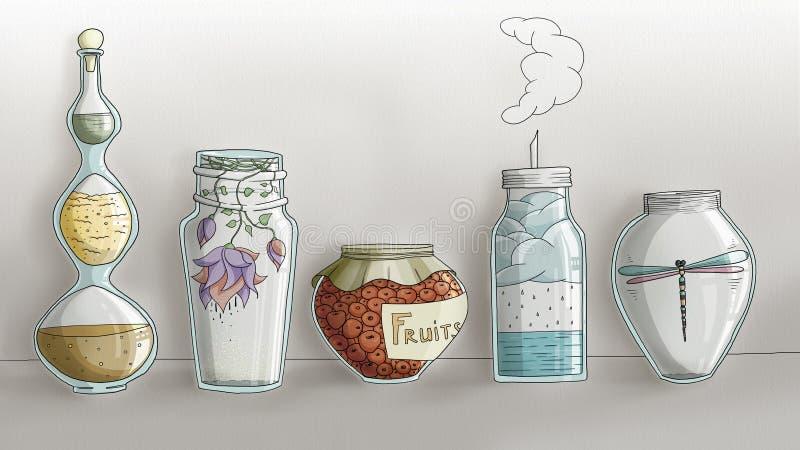 Vreemde Magische Keukenkruiken - digitale getrokken hand stock afbeelding