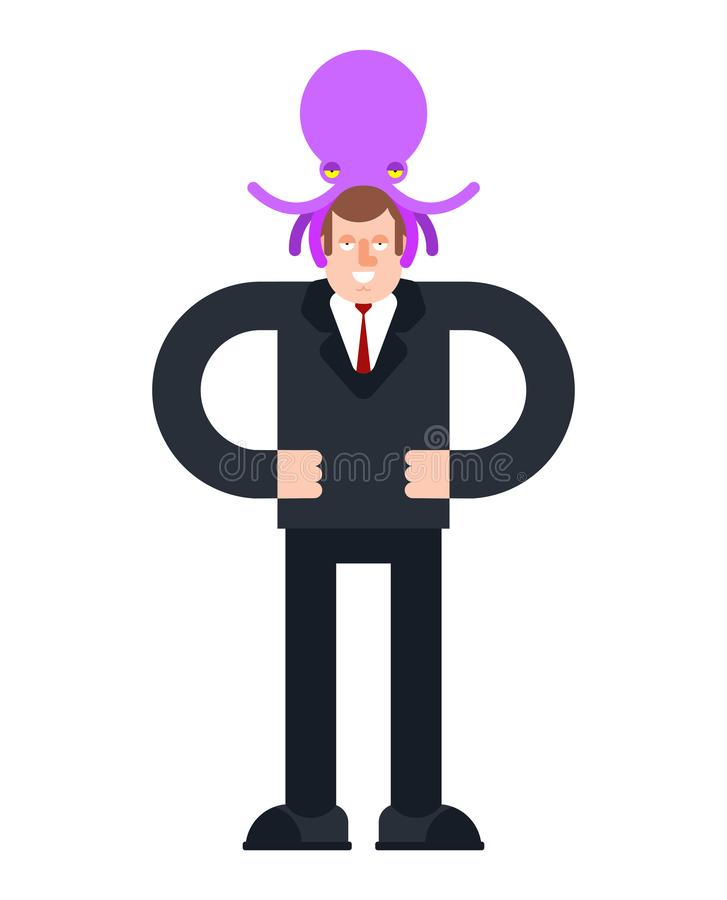 Vreemde Octopus op hoofd Dit is dossier van EPS8 formaat Het Beheer van monstervreemdelingen van menselijk bewustzijn vector illustratie