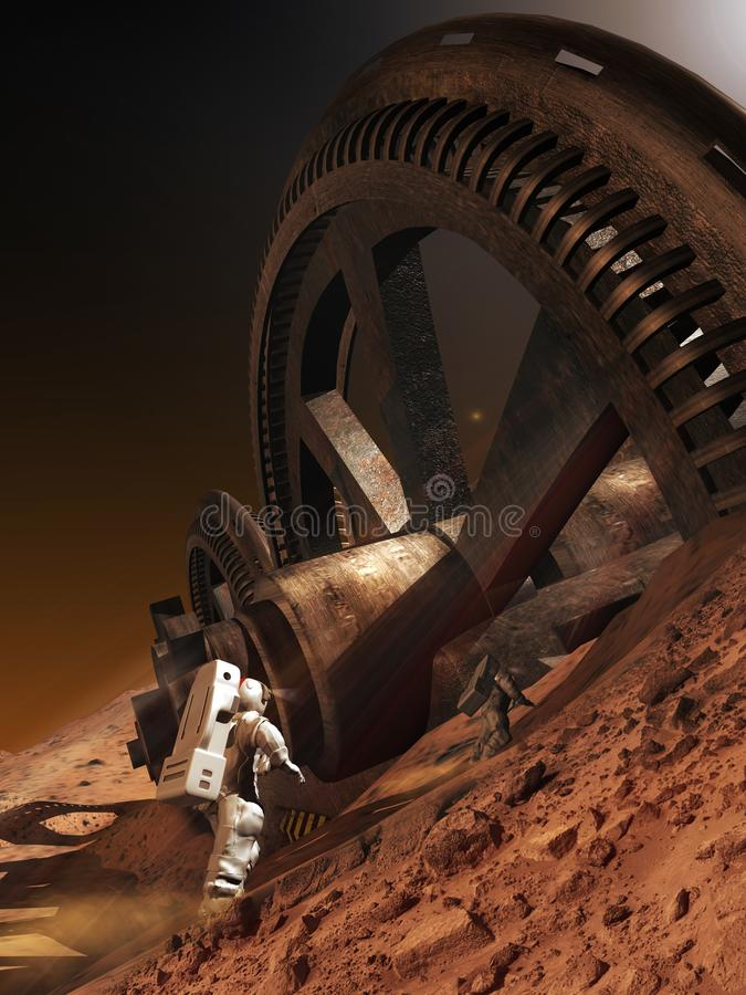 Vreemde ontdekking op planeet Mars vector illustratie