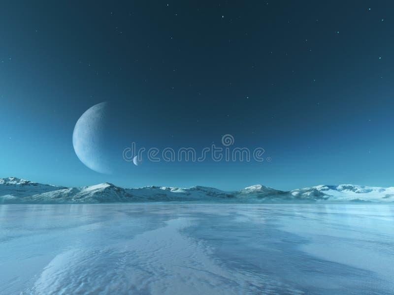 Vreemde Planeet Bevroren Meerachtergrond, de Winter stock foto
