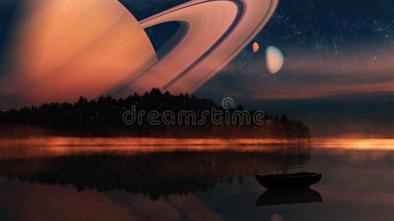 Vreemde planeet - 3d teruggegeven computerkunstwerk royalty-vrije illustratie