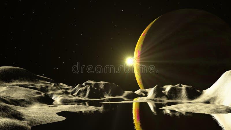 Vreemde planeet in diepe ruimte stock afbeelding
