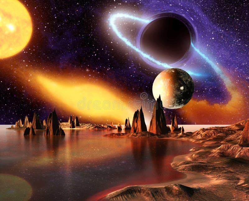 Vreemde Planeet met planeten, Aardemaan en Bergen vector illustratie