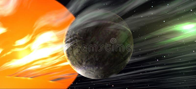 Vreemde planeet in ver een ver weg zonnestelsel stock illustratie