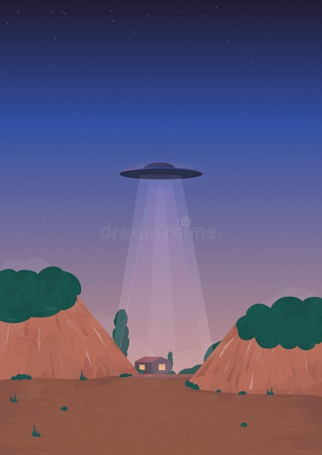 Vreemde Schipaankomst UFO op de horizon, over het huis De stijlillustratie van het beeldverhaal vector illustratie