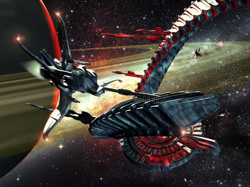 Vreemde spaceships stock illustratie