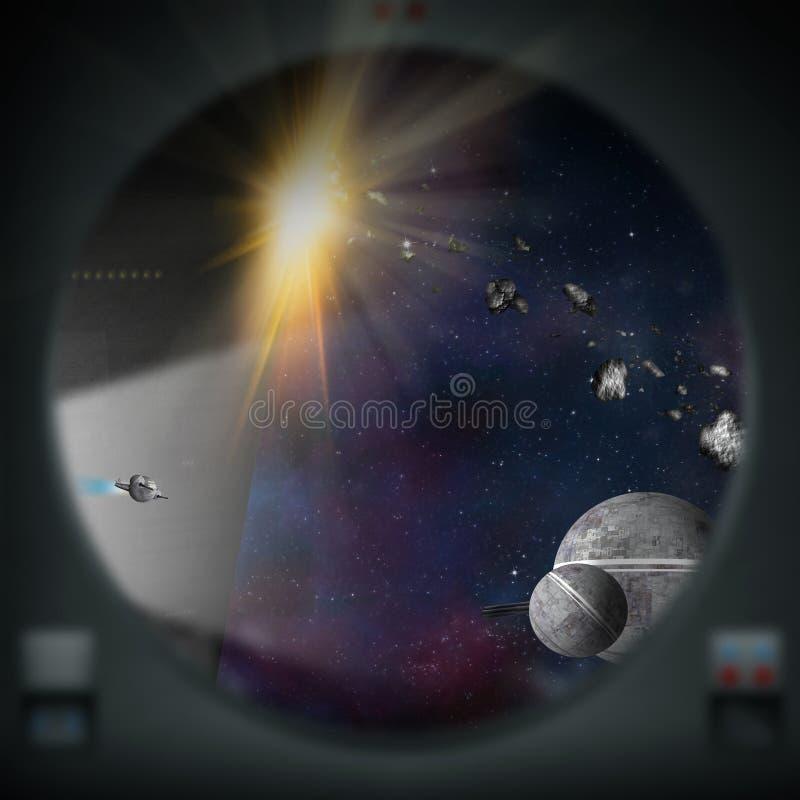 Vreemde spaceships zoals die van een ruimteschipvenster wordt gezien royalty-vrije illustratie