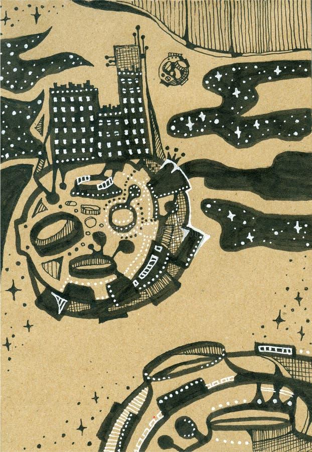 Vreemde stad in ruimte op planeet in sterrige hemel Schetsmatige stijl royalty-vrije illustratie