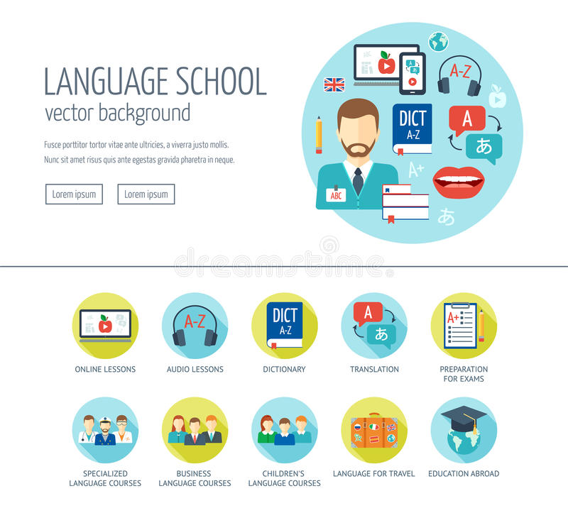 Vreemde taal het leren het concept van het Webontwerp voor website en landende pagina Vreemde taalschool en cursussen Vlak Ontwer vector illustratie