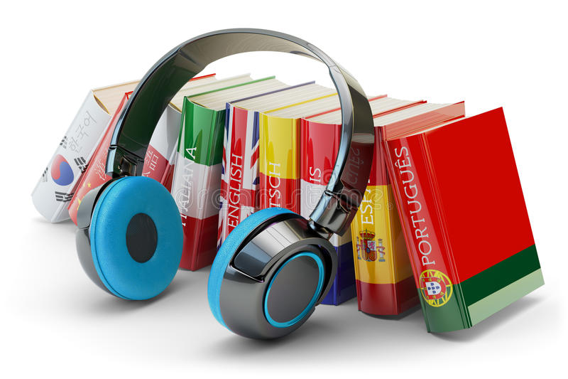 Vreemde talen het leren en vertalen, het communicatie en onderwijsconcept vector illustratie