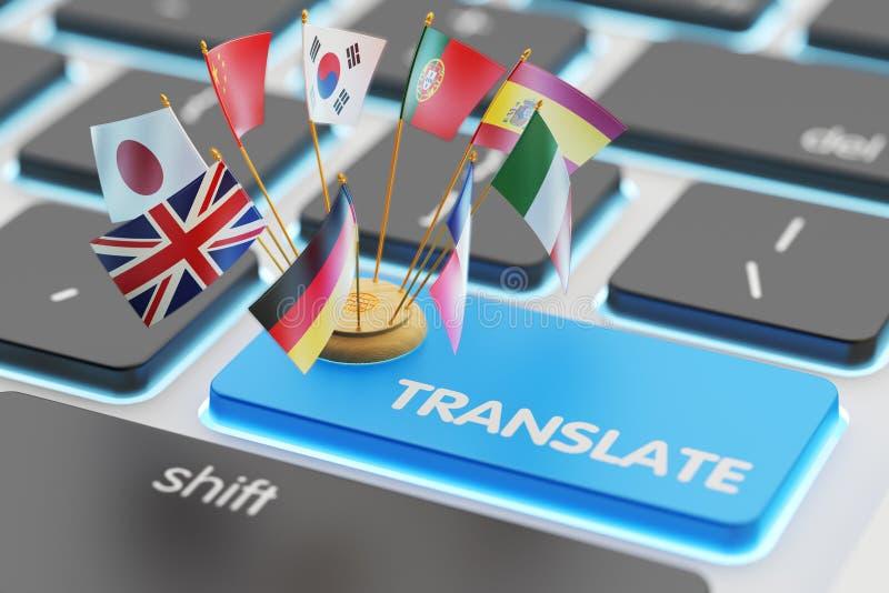 Vreemde talen vertaalconcept, online vertaler stock illustratie