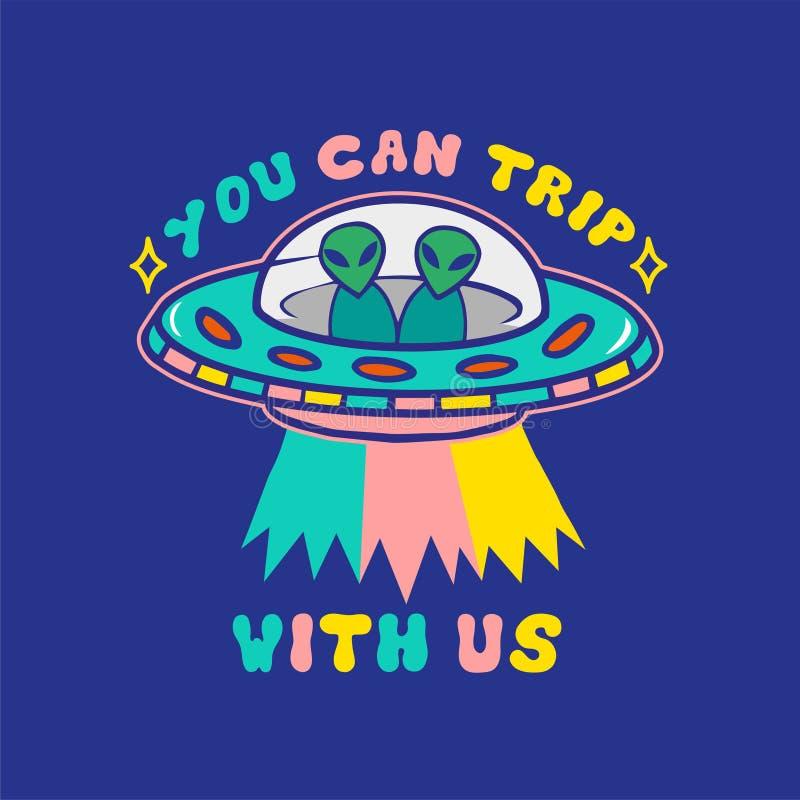 Vreemde UFOdruk royalty-vrije illustratie