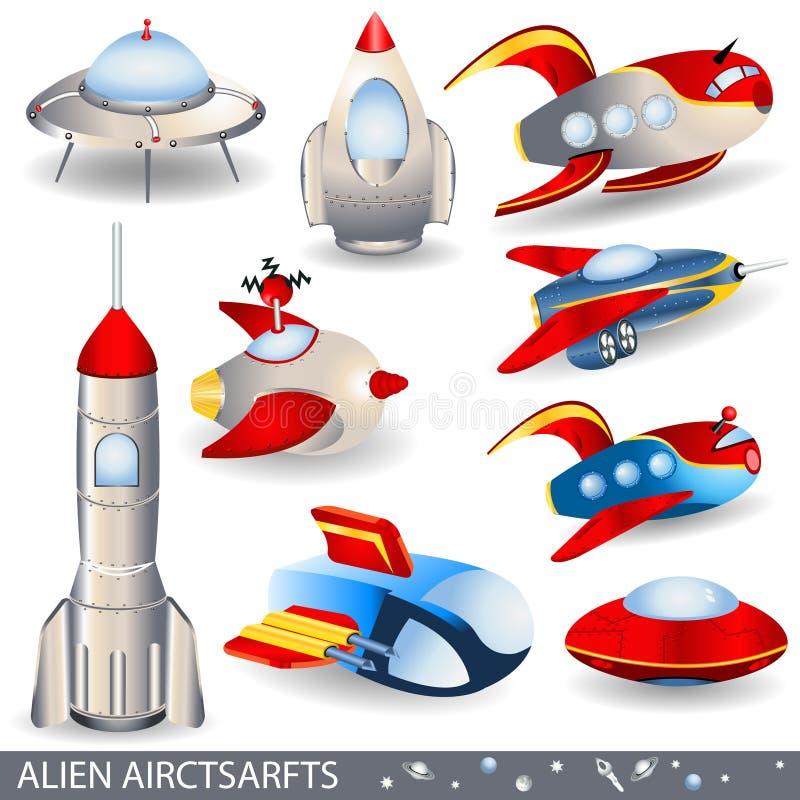 Vreemde vliegtuigen stock illustratie