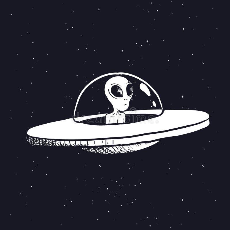Vreemdeling in een UFO vector illustratie