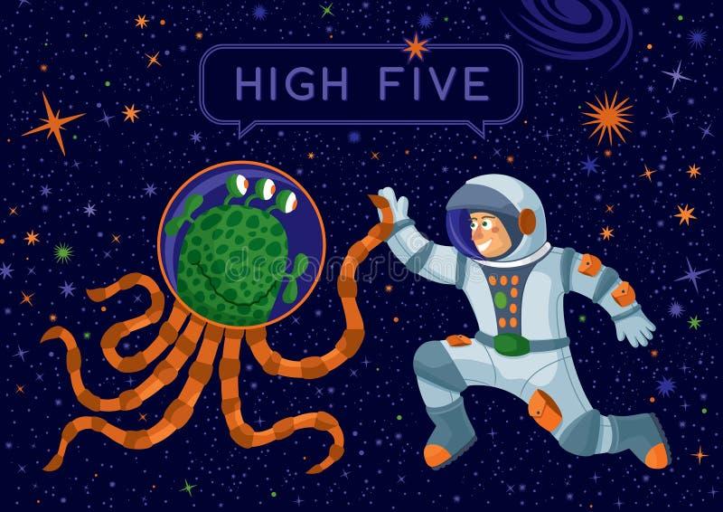 Vreemdeling en Kosmonaut Making High Five royalty-vrije illustratie