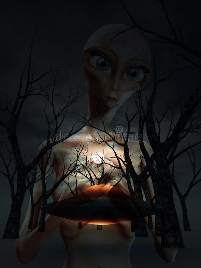 Vreemdeling en UFO in Bos vector illustratie